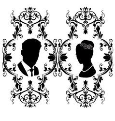wedding silhouette flourishes 10 vector image