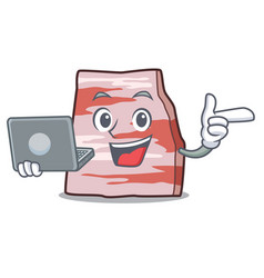 With laptop pork lard character cartoon vector