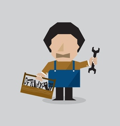 Worker Man With Toolbox vector