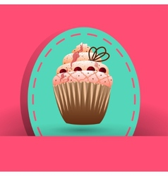 Cranberries cupcake on the pink background vector