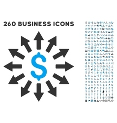 Money Distribution Icon with Flat Set vector image