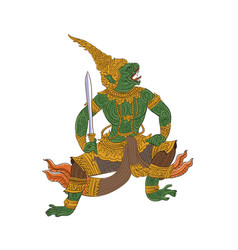 Ramakien-pale thai traditional painting vector
