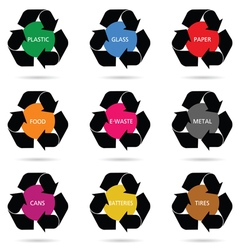 recycle sign set vector image vector image