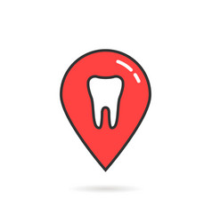 red thin line icon of dental geolocation vector image vector image
