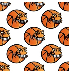 Seamless cartoon basketball ball repeating vector image vector image