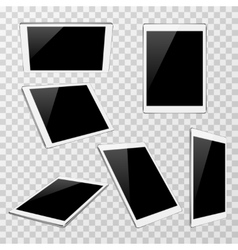 White tablet at different angles of view vector image vector image