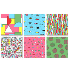 collection of colorful seamless memphis pattern vector image vector image