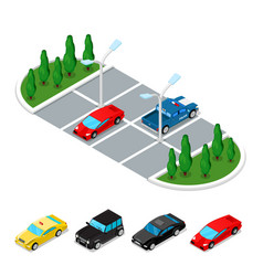 isometric car parking area city transportation vector image
