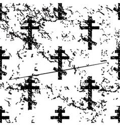 Orthodox cross pattern grunge monochrome vector image