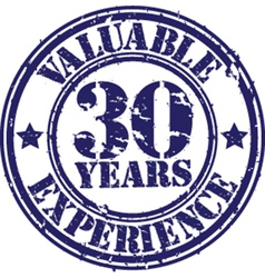 Valuable 30 years of experience rubber stamp vect vector image vector image