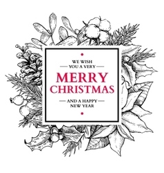 Christmas wreath frame hand drawn vector image vector image