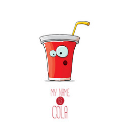 funny cartoon cute red party paper cola cup vector image