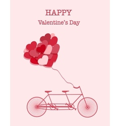 Happy Valentines Day bicycle background vector image