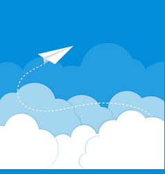 Paper airplane in the clouds on a blue background vector image vector image