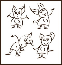 rank funny little monsters in different poses vector image