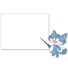 cat with a pointer and blank vector image vector image