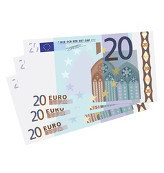 drawing of a 3x 20 Euro bills vector image vector image