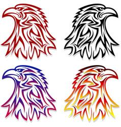 eagle head symbol emblem tattoo outlines black red vector image vector image
