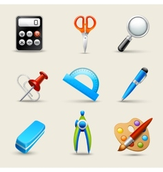 Realistic School Icons Set vector image vector image