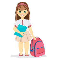 Schoolgirl with backpack and textbook vector
