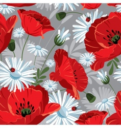 seamless with with poppies vector image vector image