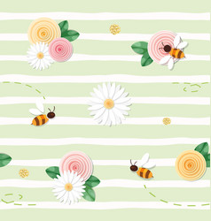 Summer floral seamless pattern roses chamomiles vector