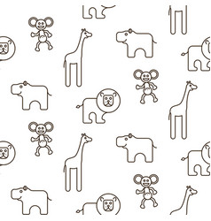 african wild animals kid seamless pattern vector image