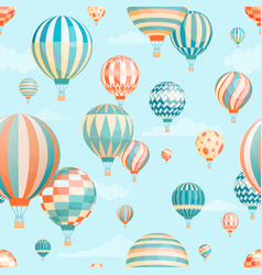 air balloons in sky seamless pattern vector image