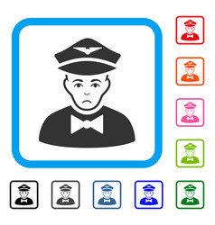 Airline steward framed unhappy icon vector