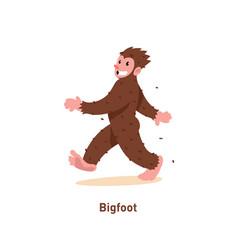 An a cartoon nice bigfoot brown bigfoot is vector