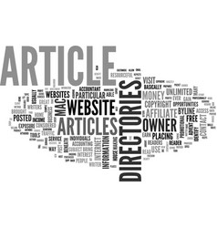 Article directories text word cloud concept vector