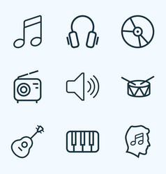 Audio outlines set collection of earphones vector