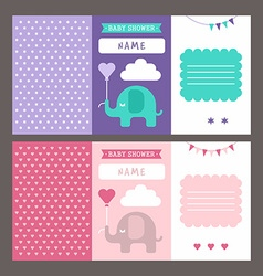 Baby shower three fold invitation template vector