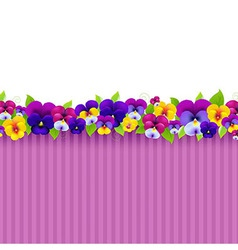 background with colorful pansies vector image