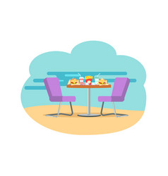 bistro cafe served table with burgers and soda vector image