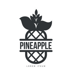 black and white symmetric graphic pineapple logo vector image