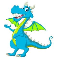 Blue dragon cartoon waving vector