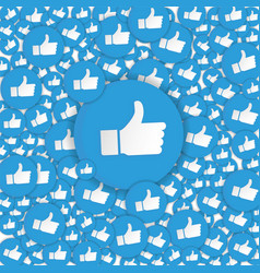 blue hand likes signs background social network vector image