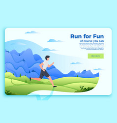 bright banner template with running man vector image
