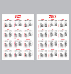 Calendar grid for 2021-2022 year vector