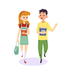 cartoon children walking and talking together vector image