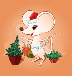 cartoon santa mouse in red hat decorates a vector image