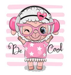 Cartoon sheep in a pink dress and headphones vector