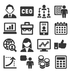 Ceo and business management icons set vector