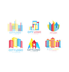 city logo design set real estate emblem vector image