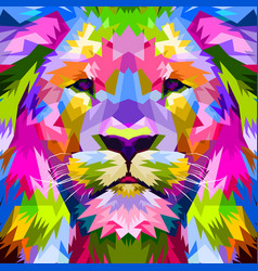 Close up of face lion vector