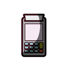Color silhouette with payment terminal with thick vector