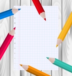 Colorful Pencils with Paper Sheet vector image
