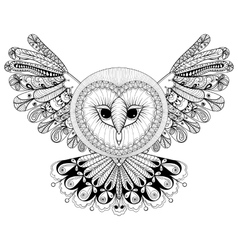 Coloring page with Owl zentangle hand drawing vector image