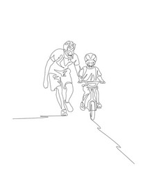 continuous one line father teaches son ride on vector image